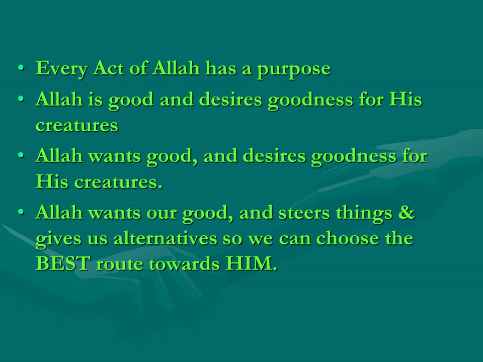 Every Act of Allah has a purpose