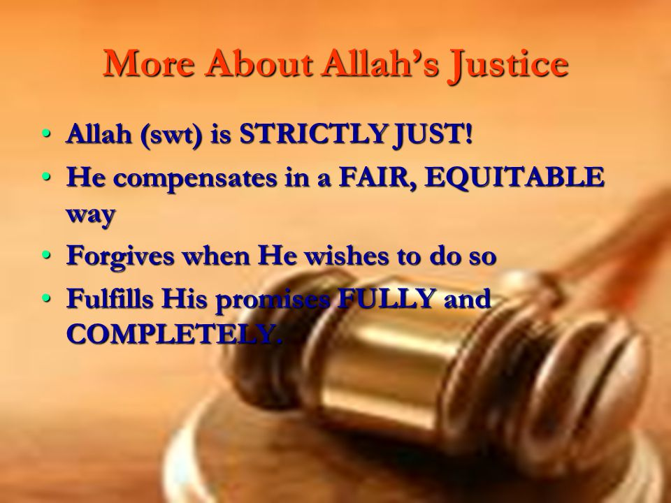More About Allah's Justice