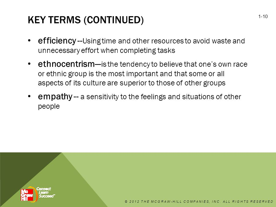 key terms (continued) efficiency --Using time and other resources to avoid waste and unnecessary effort when completing tasks.