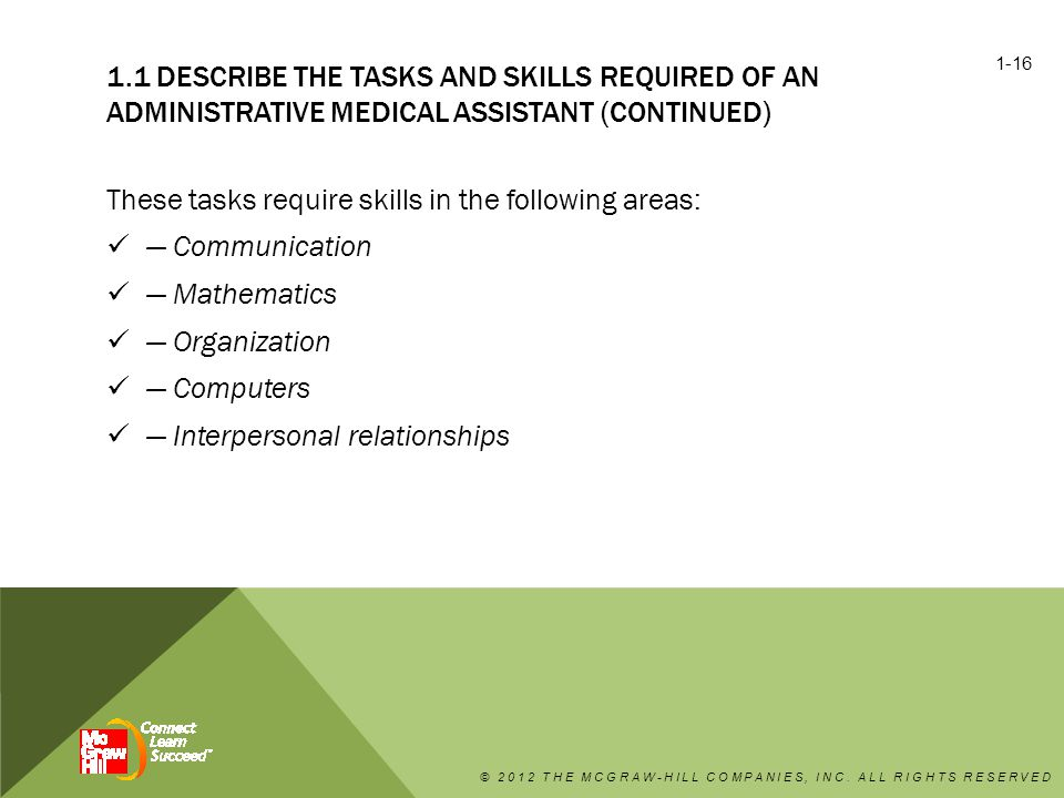 These tasks require skills in the following areas: — Communication