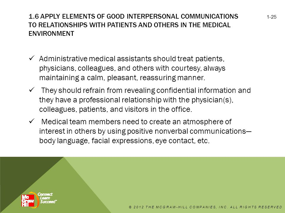 1.6 Apply elements of good interpersonal communications to relationships with patients and others in the medical environment
