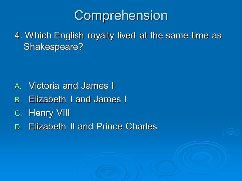 Comprehension 4. Which English royalty lived at the same time as Shakespeare Victoria and James I.