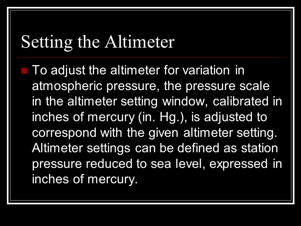 Setting the Altimeter