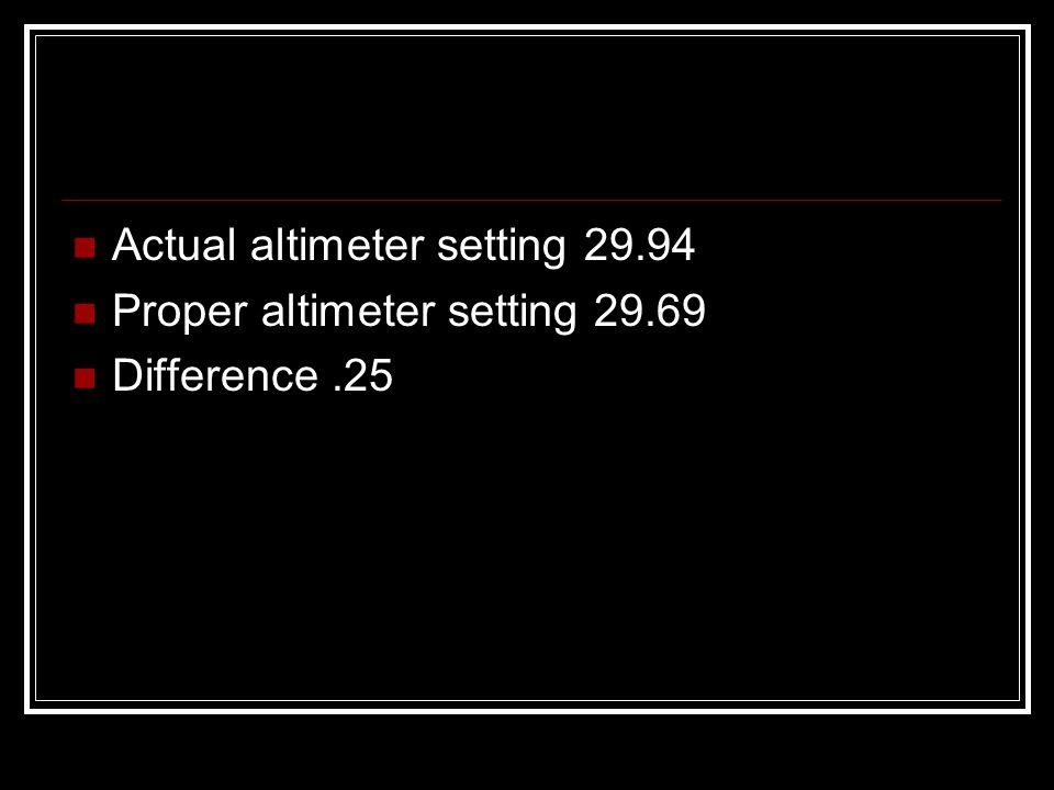 Actual altimeter setting 29.94