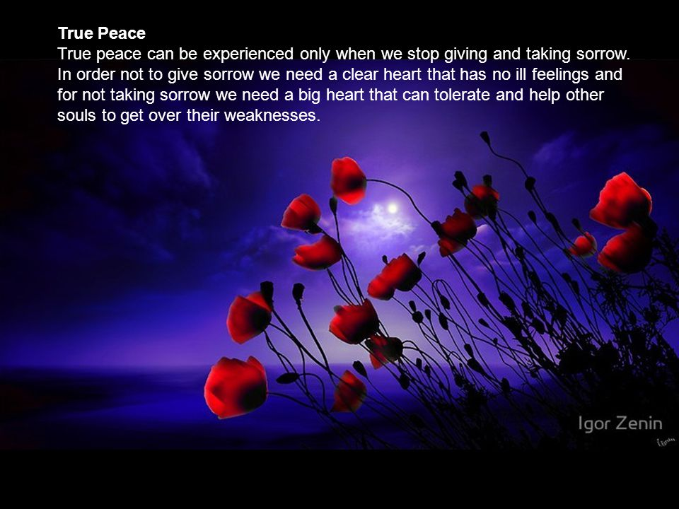 True Peace True peace can be experienced only when we stop giving and taking sorrow.