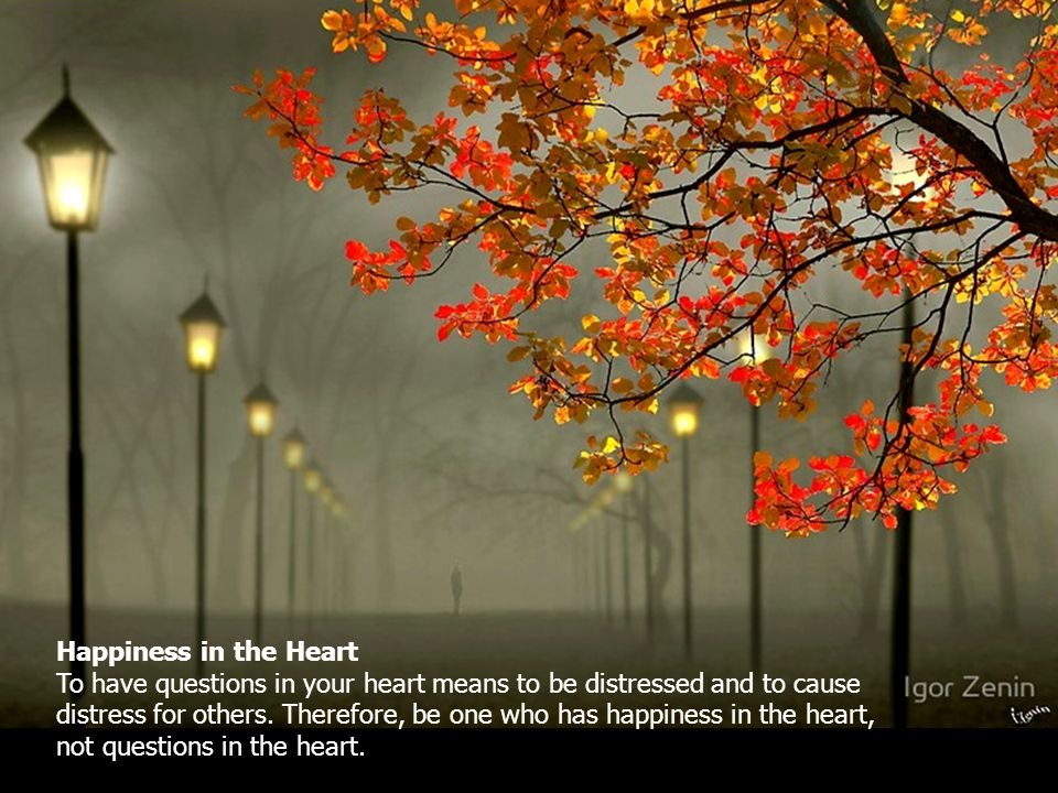 Happiness in the Heart To have questions in your heart means to be distressed and to cause distress for others.