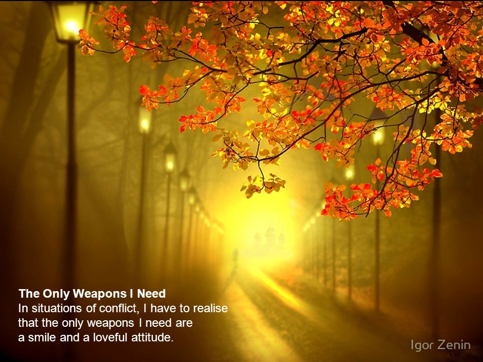 The Only Weapons I Need In situations of conflict, I have to realise. that the only weapons I need are.