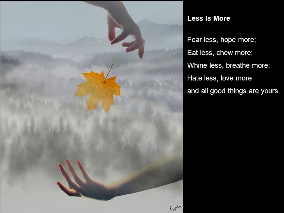 Less Is More Fear less, hope more; Eat less, chew more; Whine less, breathe more; Hate less, love more.