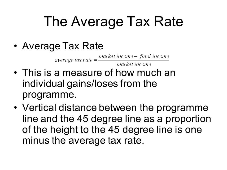 The Average Tax Rate Average Tax Rate