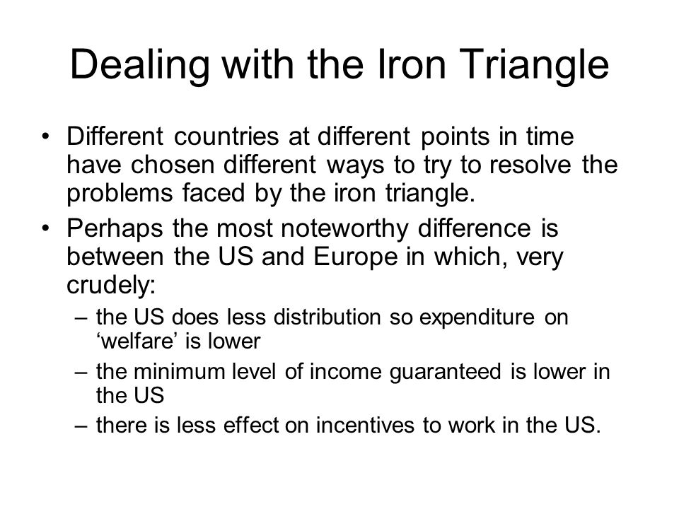 Dealing with the Iron Triangle