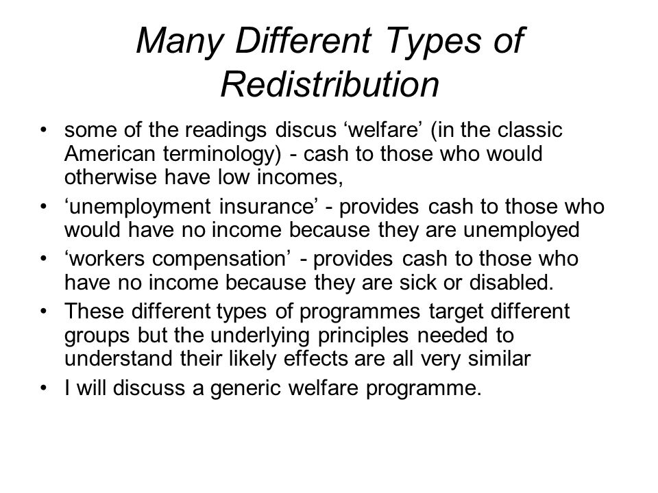 Many Different Types of Redistribution