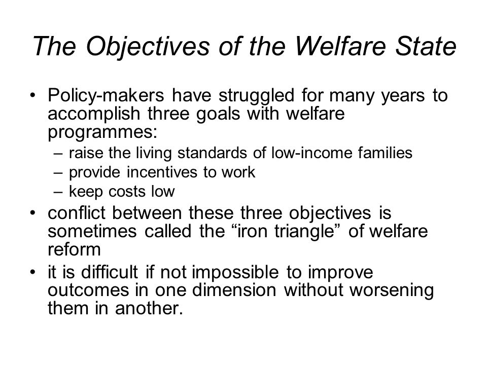 The Objectives of the Welfare State