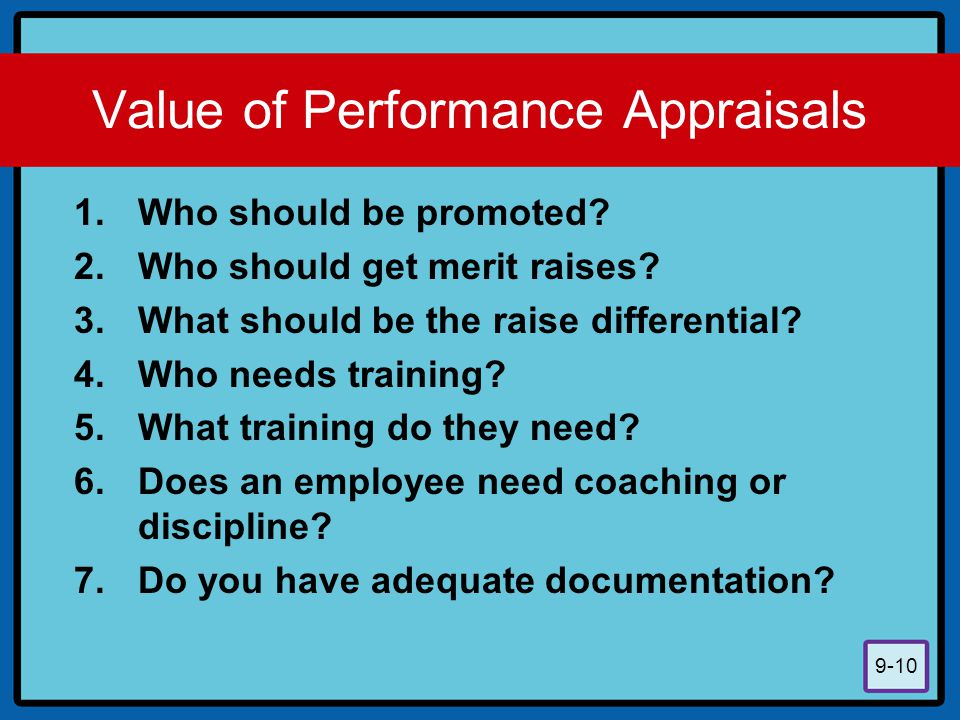 Value of Performance Appraisals