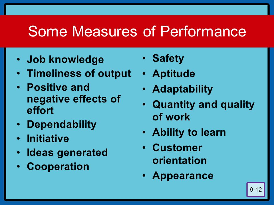 Some Measures of Performance