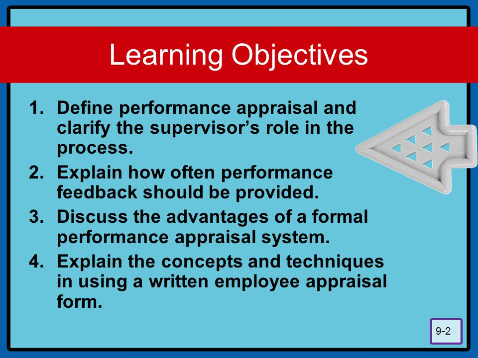 Learning Objectives Define performance appraisal and clarify the supervisor's role in the process.