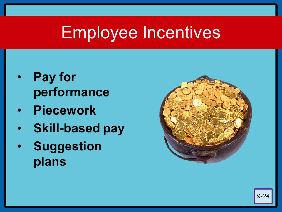 Employee Incentives Pay for performance Piecework Skill-based pay
