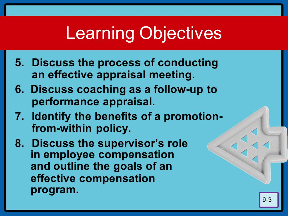 Learning Objectives Discuss the process of conducting an effective appraisal meeting. 6. Discuss coaching as a follow-up to performance appraisal.