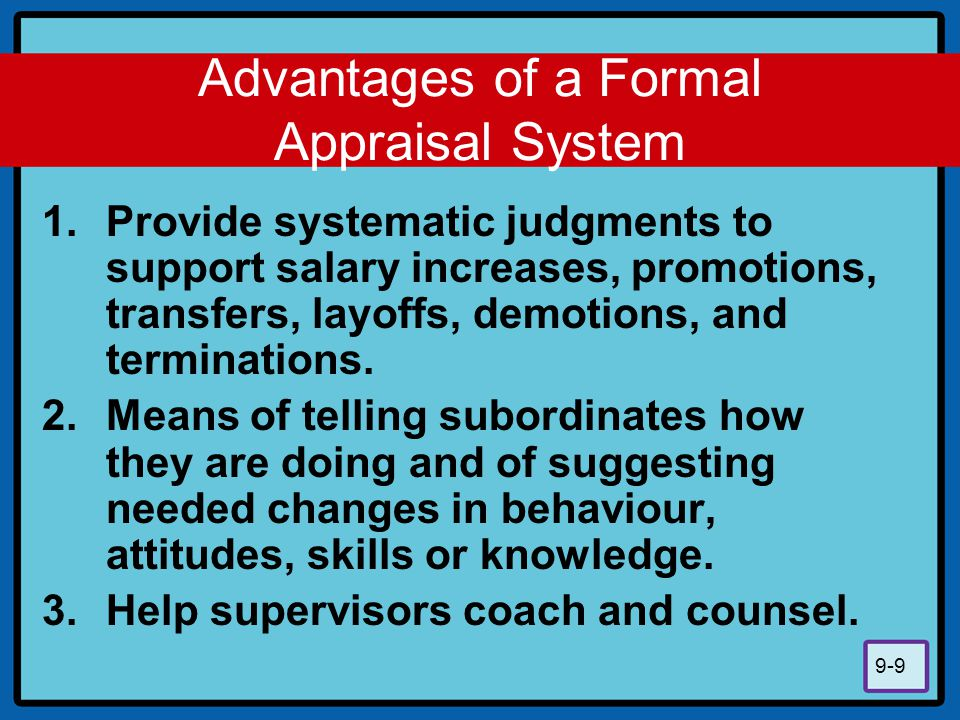 Advantages of a Formal Appraisal System