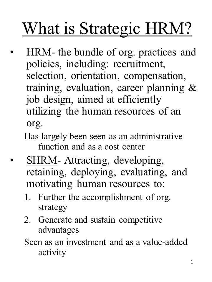 intro_strategic What is Strategic HRM