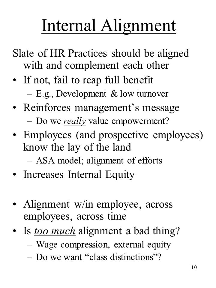 Internal Alignment Slate of HR Practices should be aligned with and complement each other. If not, fail to reap full benefit.