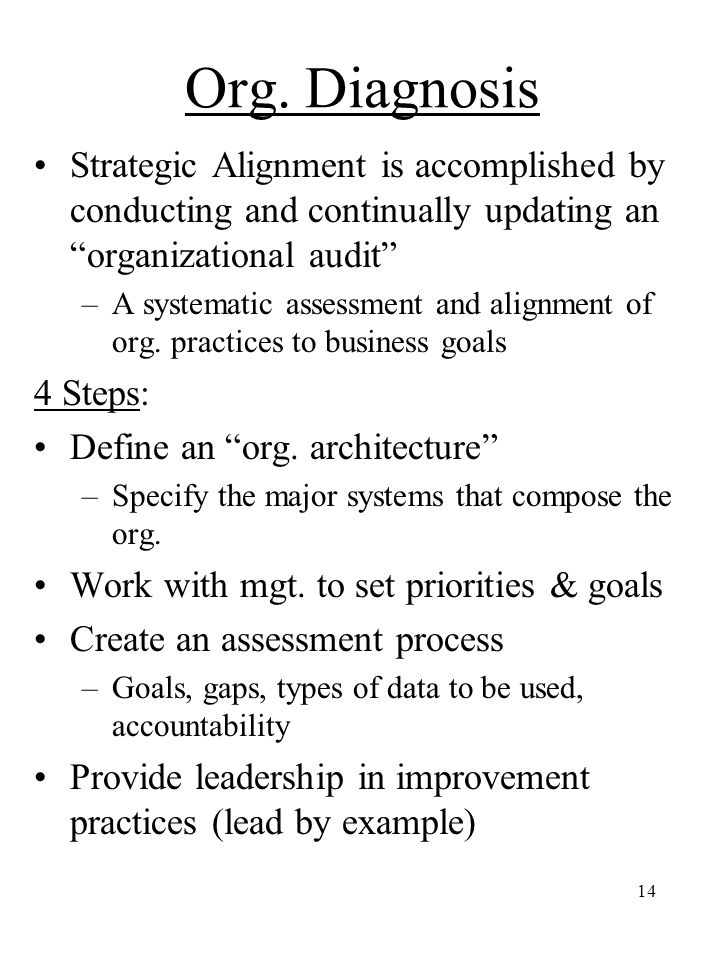 Org. Diagnosis Strategic Alignment is accomplished by conducting and continually updating an organizational audit