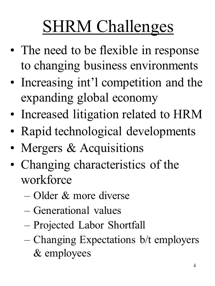 SHRM Challenges The need to be flexible in response to changing business environments. Increasing int'l competition and the expanding global economy.