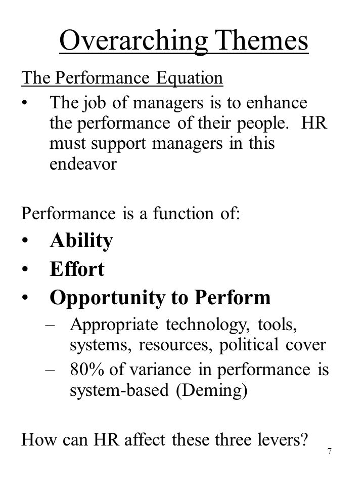 Overarching Themes Ability Effort Opportunity to Perform