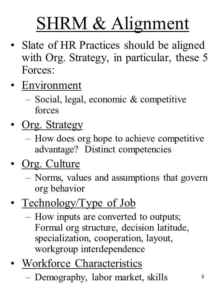SHRM & Alignment Slate of HR Practices should be aligned with Org. Strategy, in particular, these 5 Forces: