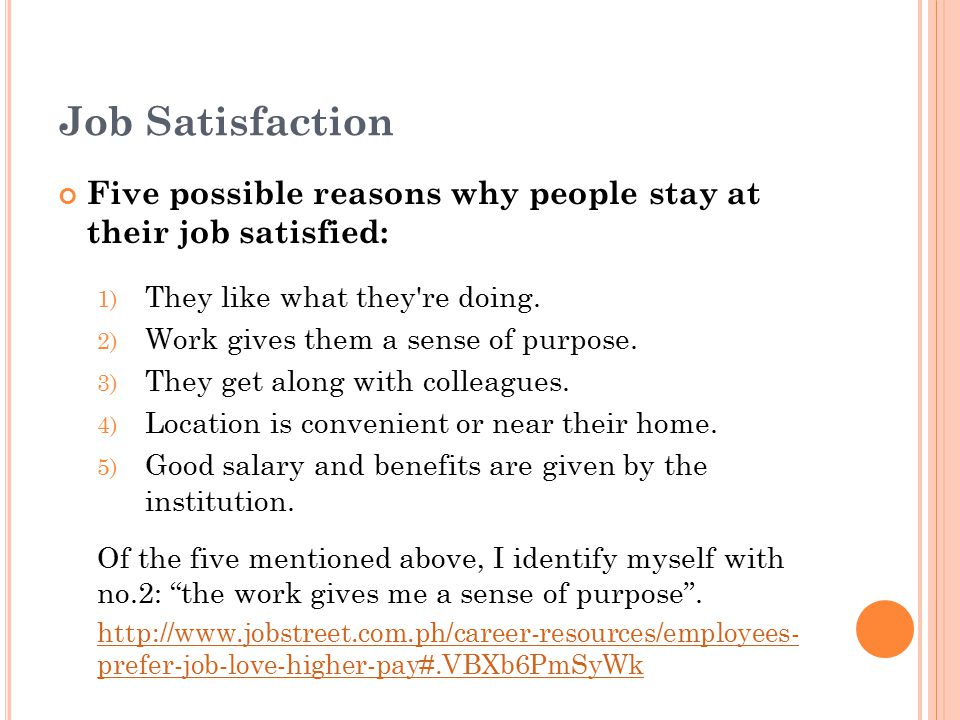 Job Satisfaction Five possible reasons why people stay at their job satisfied: They like what they re doing.