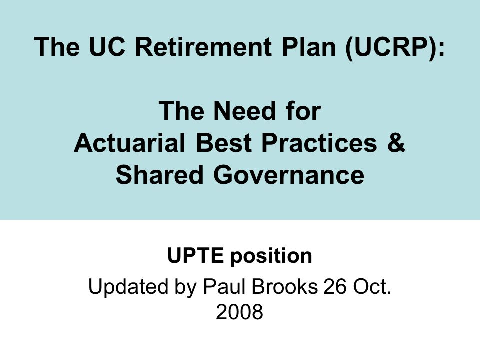 UPTE position Updated by Paul Brooks 26 Oct. 2008