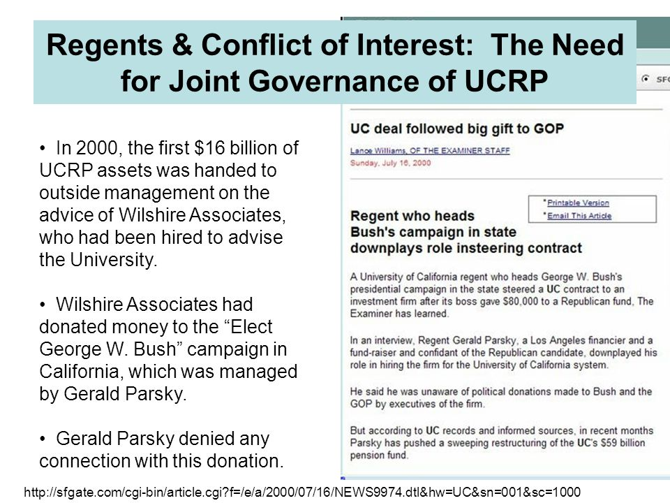 Regents & Conflict of Interest: The Need for Joint Governance of UCRP