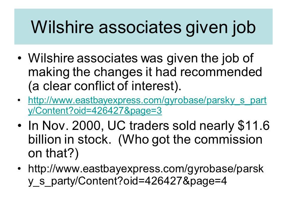 Wilshire associates given job