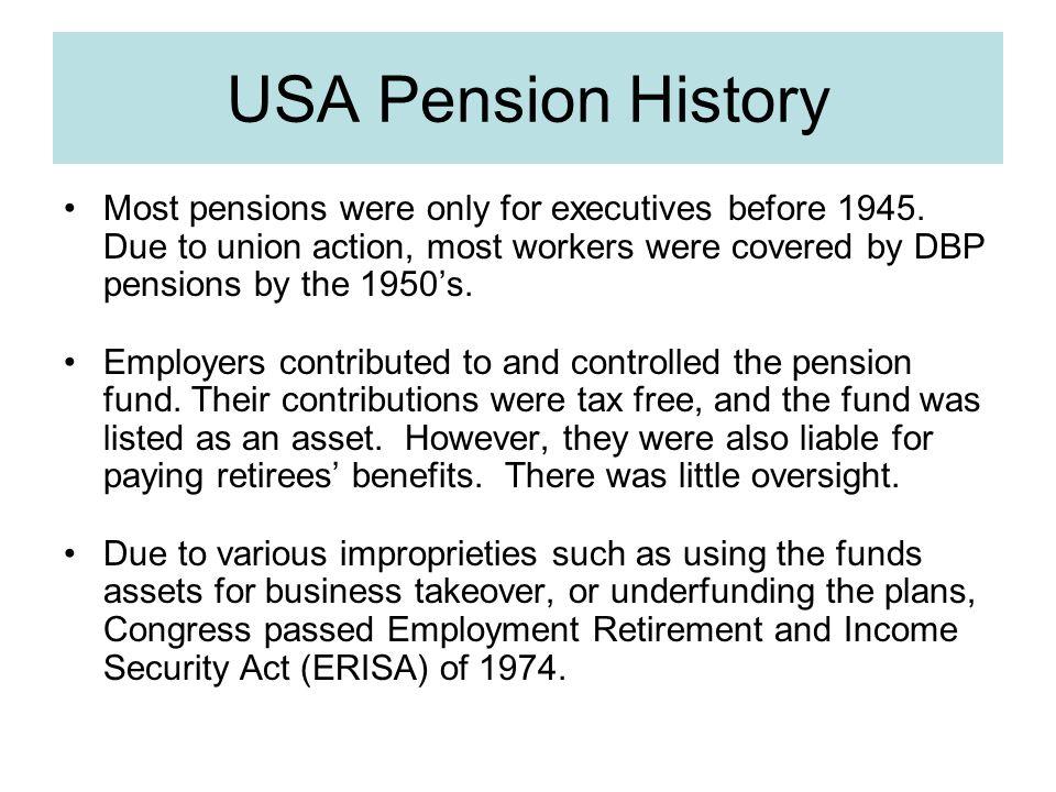 USA Pension History