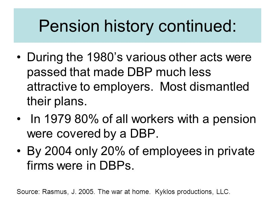 Pension history continued: