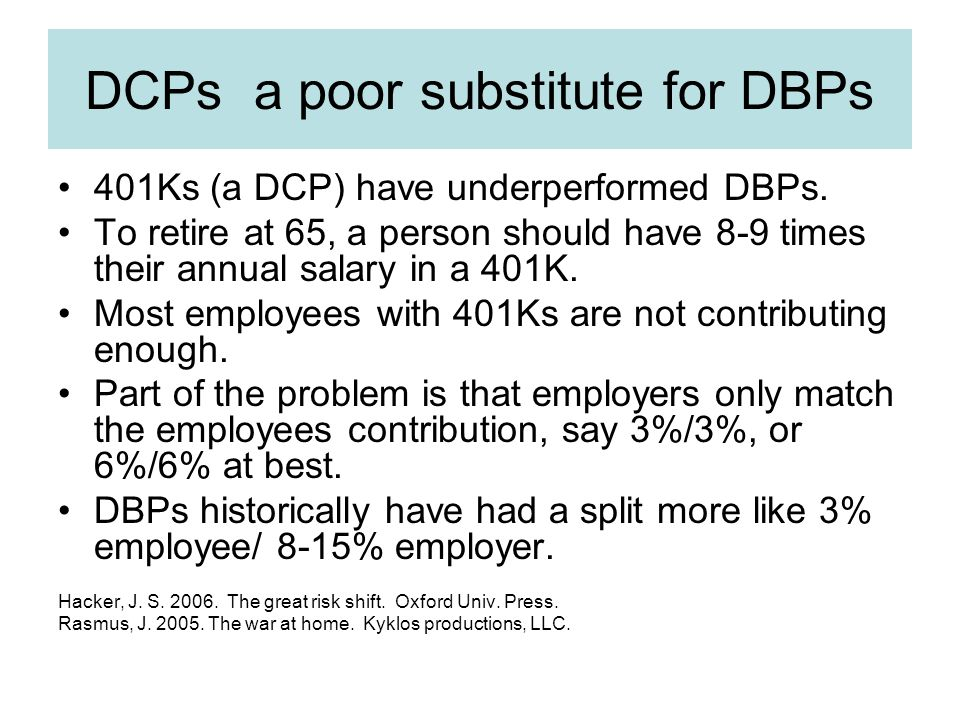 DCPs a poor substitute for DBPs