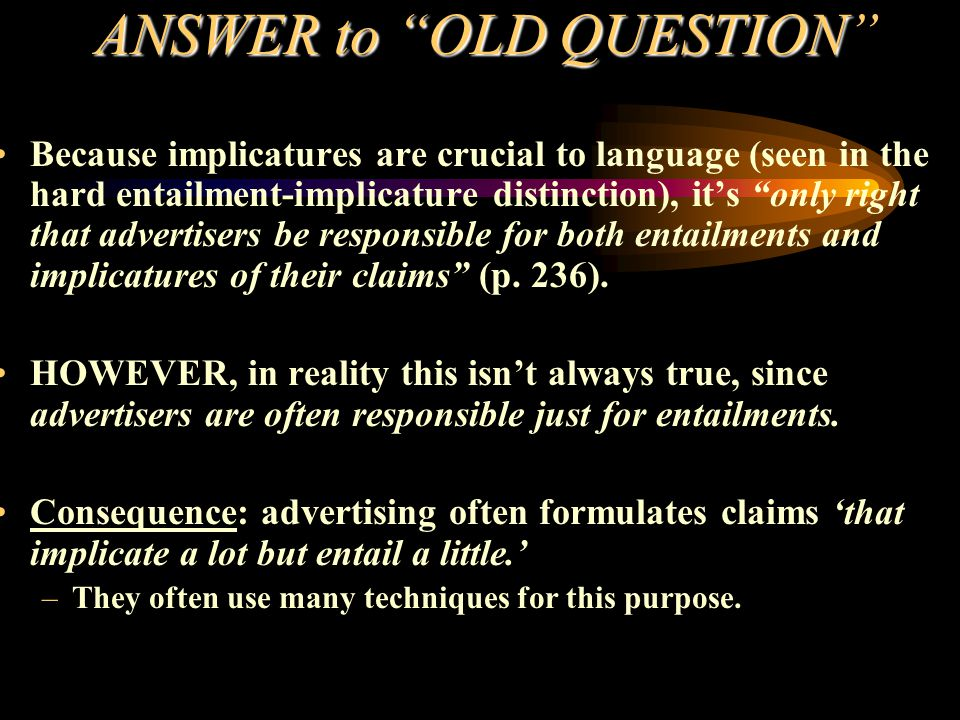ANSWER to OLD QUESTION