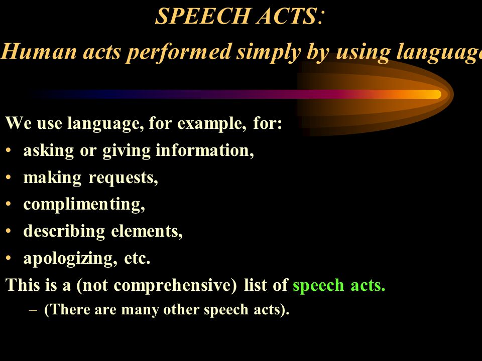 SPEECH ACTS: Human acts performed simply by using language