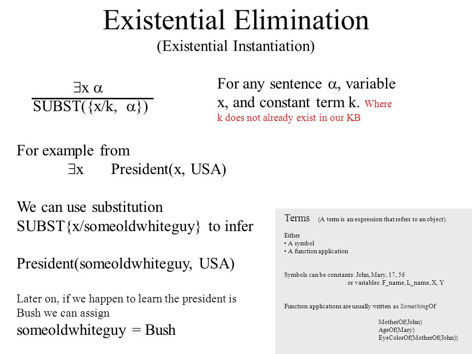 Existential Elimination (Existential Instantiation)