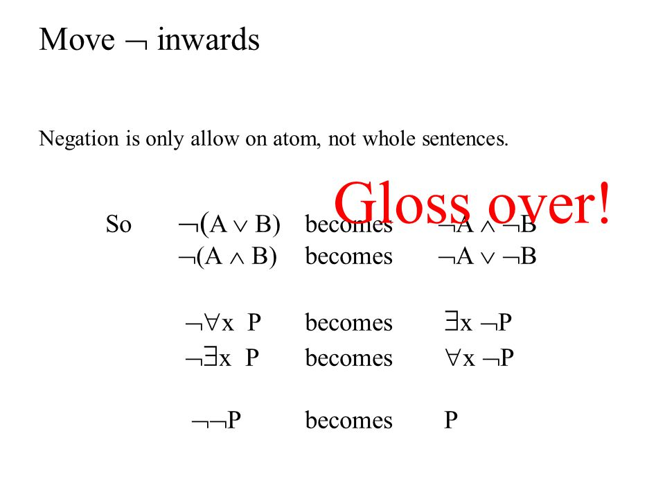 Gloss over! Move  inwards So (A  B) becomes A  B