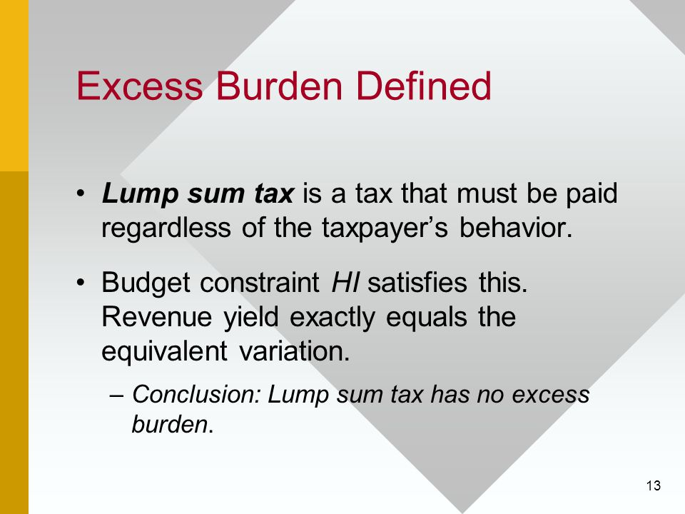 Excess Burden Defined Lump sum tax is a tax that must be paid regardless of the taxpayer's behavior.
