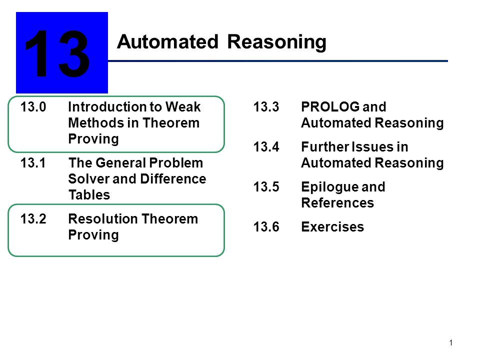 13 Automated Reasoning. 13.0 Introduction to Weak Methods in Theorem Proving. 13.1 The General Problem Solver and Difference Tables.
