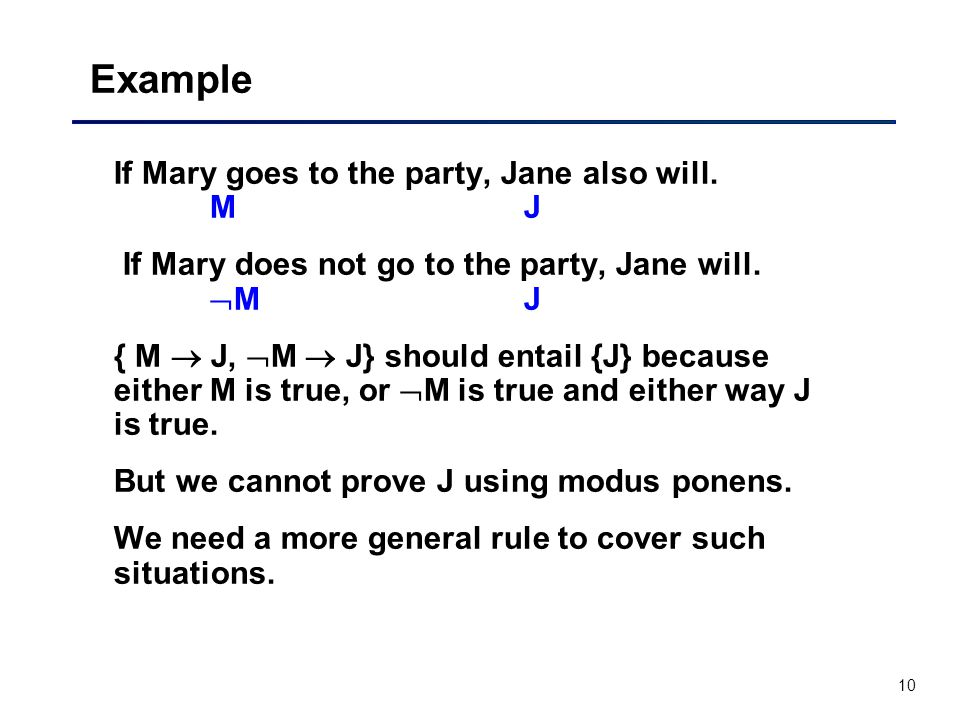 Example If Mary goes to the party, Jane also will. M J