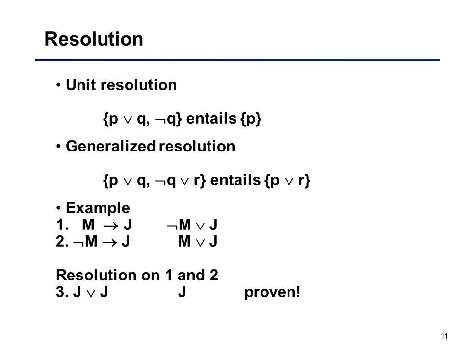 Resolution Unit resolution {p  q, q} entails {p}