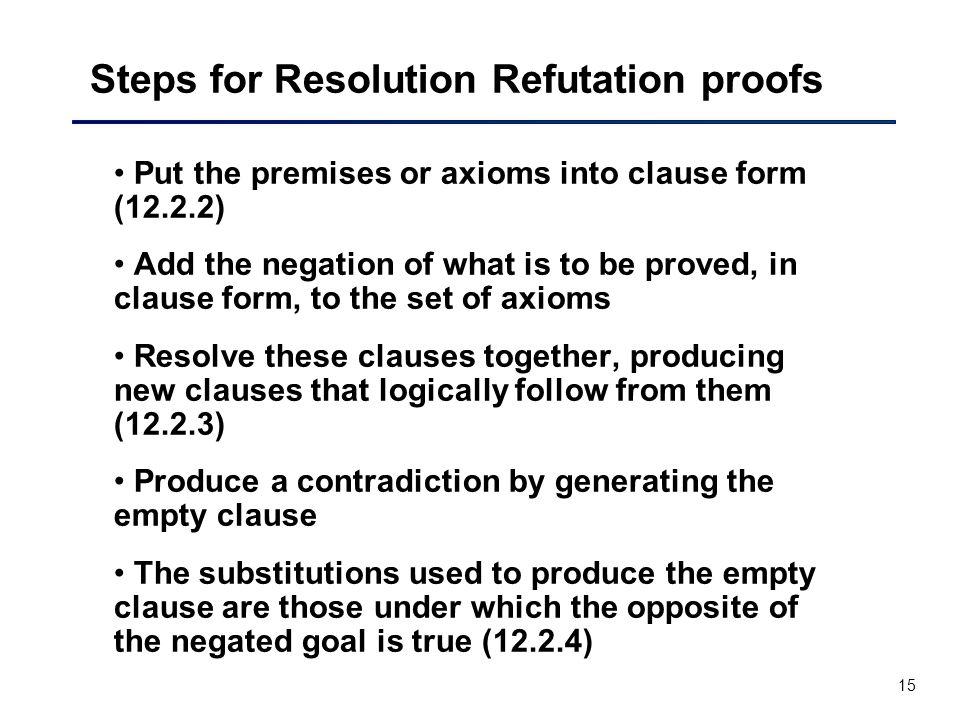 Steps for Resolution Refutation proofs