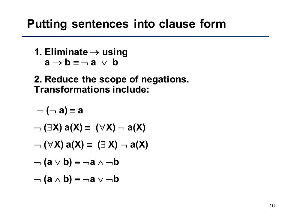 Putting sentences into clause form