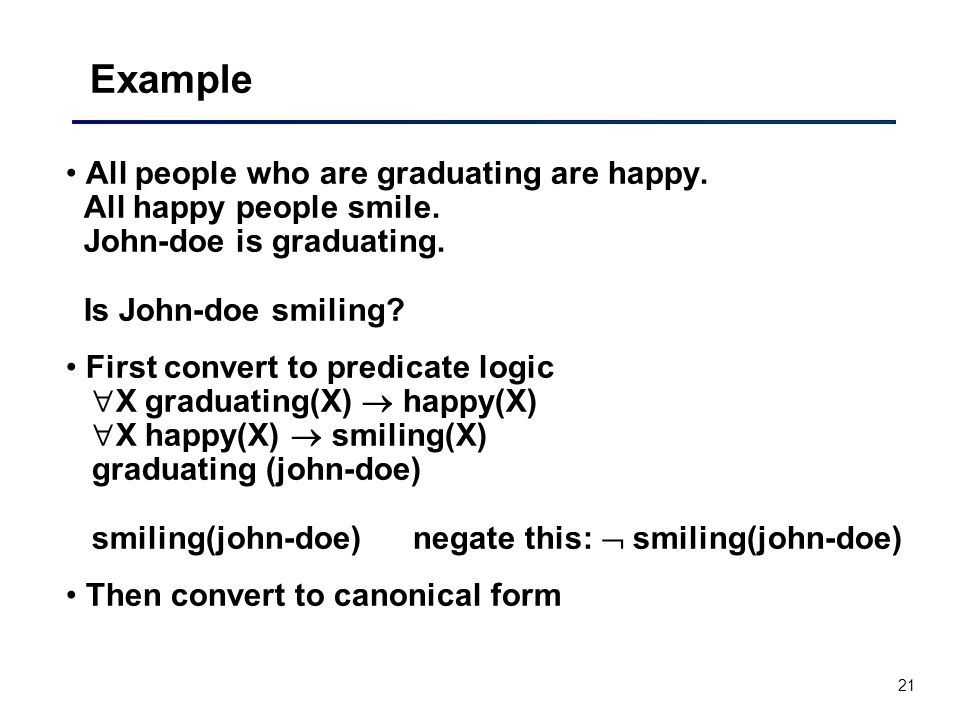 Example All people who are graduating are happy. All happy people smile. John-doe is graduating. Is John-doe smiling