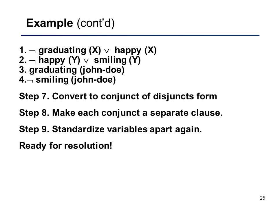 Example (cont'd) 1.  graduating (X)  happy (X) 2.  happy (Y)  smiling (Y) 3. graduating (john-doe) 4. smiling (john-doe)