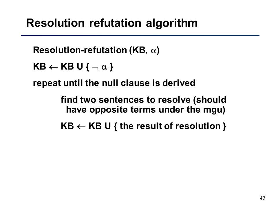 Resolution refutation algorithm