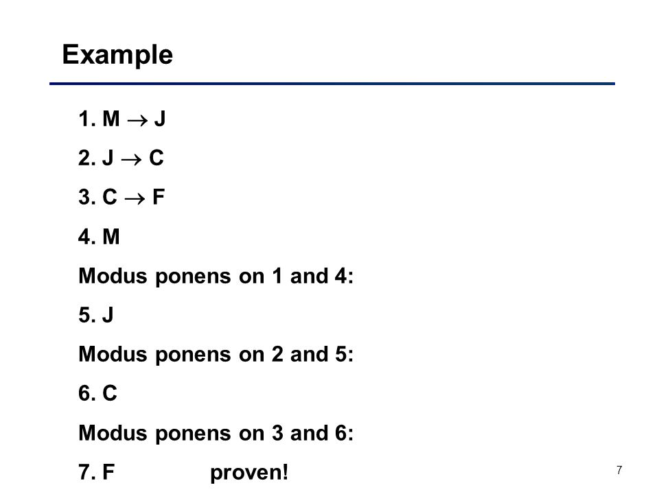 Example 1. M  J 2. J  C 3. C  F 4. M Modus ponens on 1 and 4: 5. J