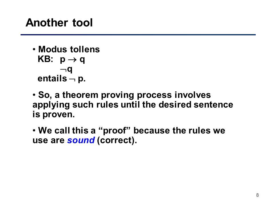 Another tool Modus tollens KB: p  q q entails  p.